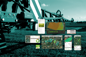 Boitier Karnott sur du matériel de travaux agricoles avec des exemples de données de la parcelle qu'il enregistre