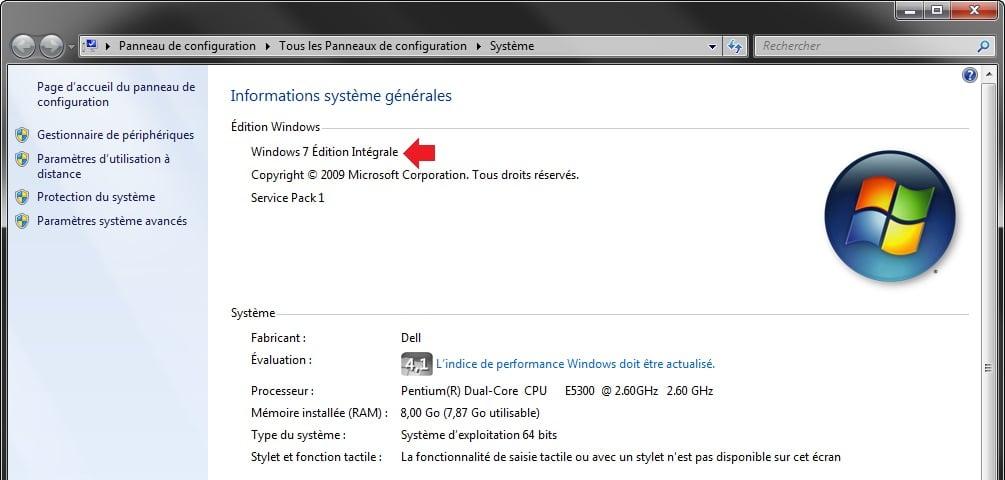 fenêtre système dans Windows 7
