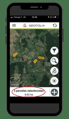 Geofolia - sélection multiple de parcelles