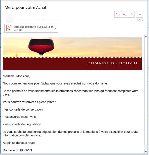 E-mailing de fidélisation suite achat de vin
